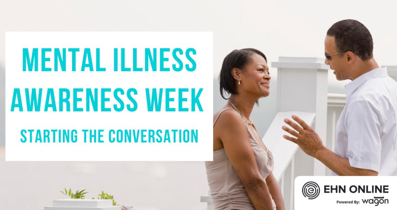 Man and woman talking on balcony. Mental Illness Awareness Week - starting the conversation